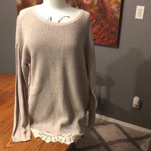 Sweater dress with lace trim